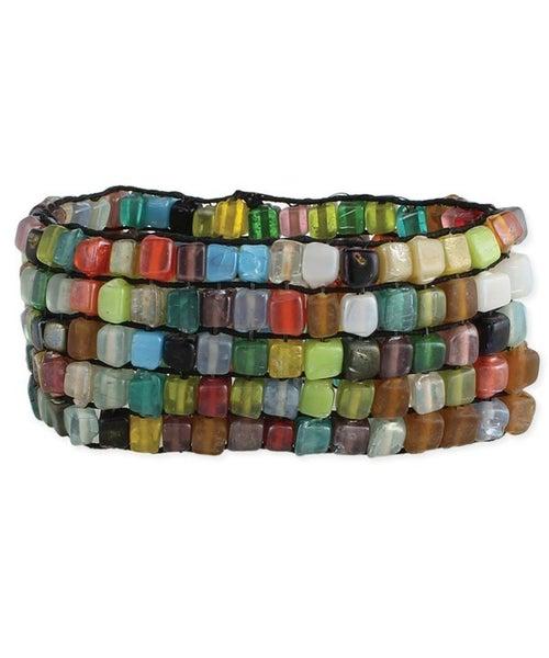 Square glass bead multi-bead stretchy bracelet