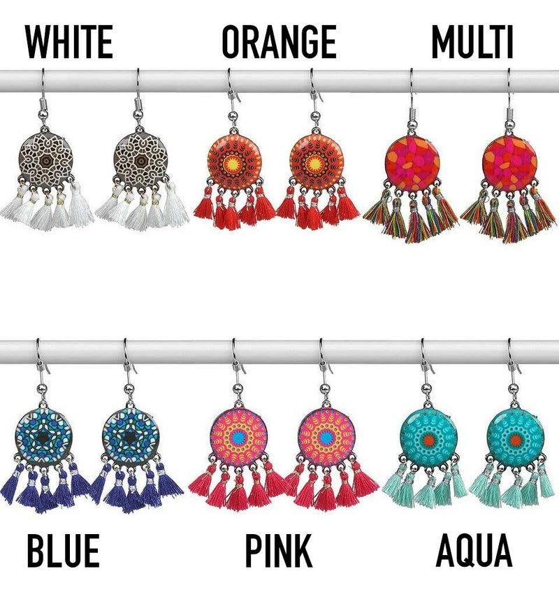 Boho Medallion Tassel Earrings