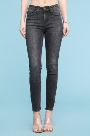 Judy Blue Grey Mid-rise Handsand Skinny Jeans