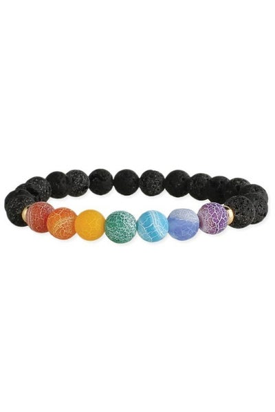 Diffuser black lava stone bracelet with rainbow crackle glass beads