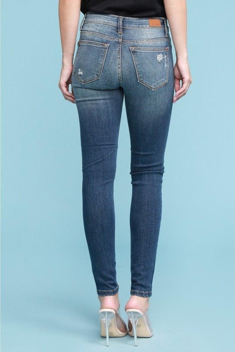 Judy Blue Buffalo Plaid (red/black plaid) Patch Jeans