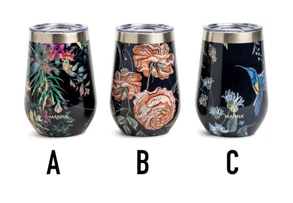 Assorted Floral Black Background Wine Tumbler