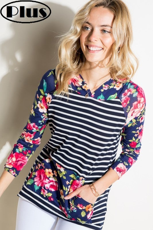 Navy stripe floral mix hoodie (soft, stretchy, amazing)