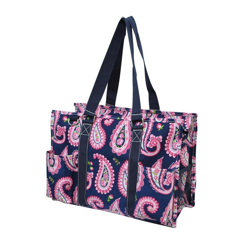 Paisley Zippered Caddy Organizer Tote Bag