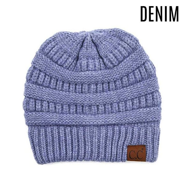 Soft yarn knit C.C. beanie