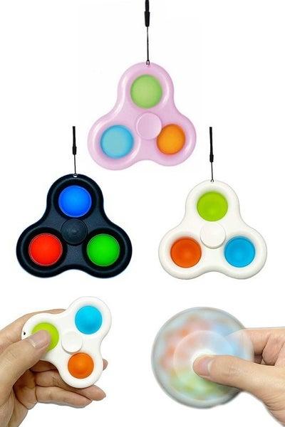 Rainbow Push Pop Fidget Toy with Key Ring