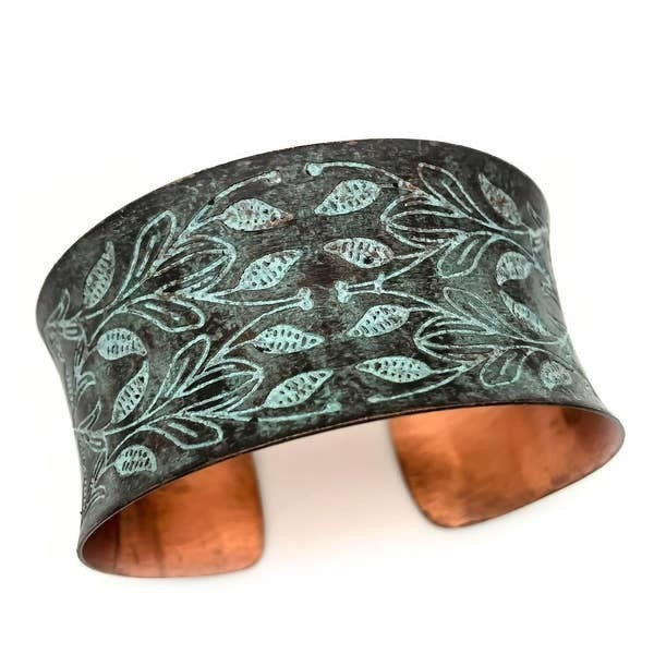 Mirrored Leaves Copper Patina Bracelet : Anju