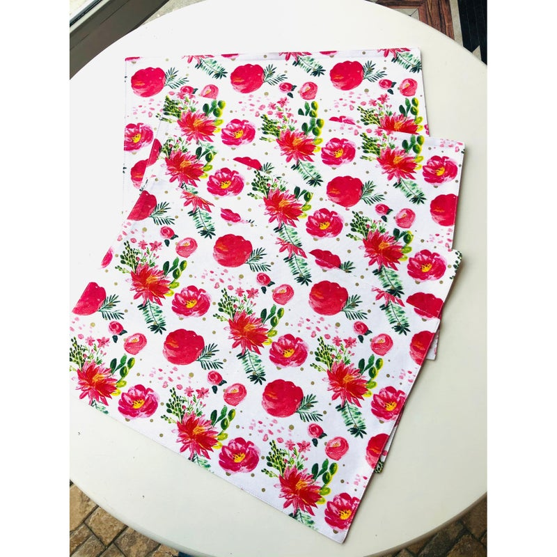 Spring pink floral placemats, set of 4