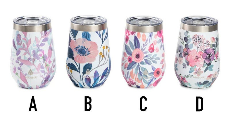 Assorted floral stemless wine cup