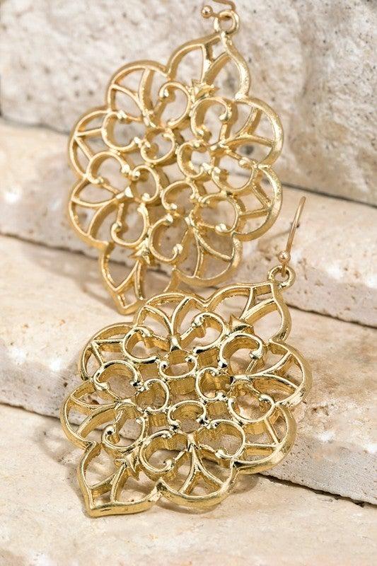 Filigree marquise dangle earrings