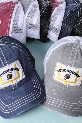 'Touchdown' distressed trucker hat