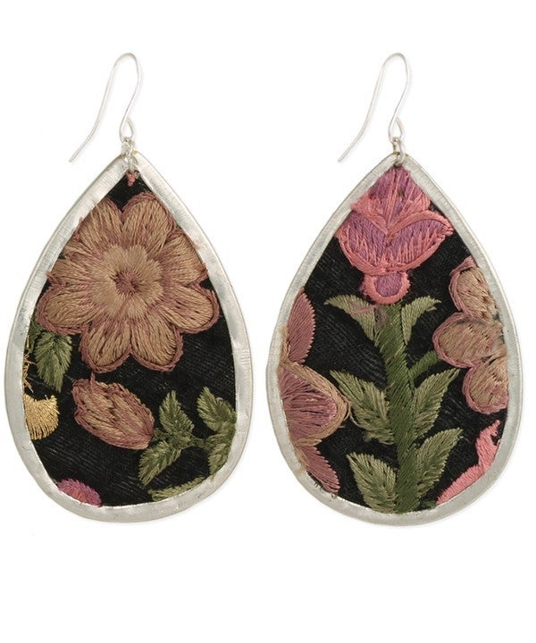 Romantic floral embroidered teardrop earrings