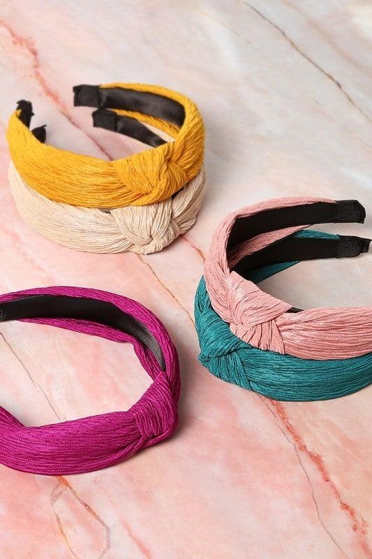 Premium solid fabric twist headband