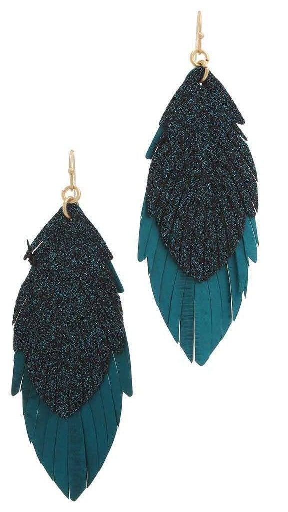 Leather faux feather glitter dangle earrings