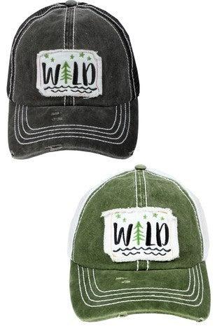 'Wild' distressed trucker hat