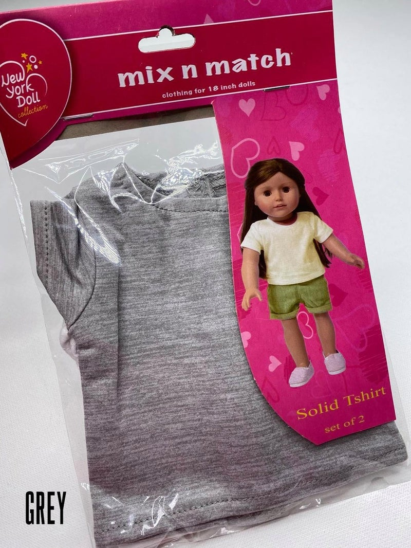 18-inch doll solid t-shirts, set of 2