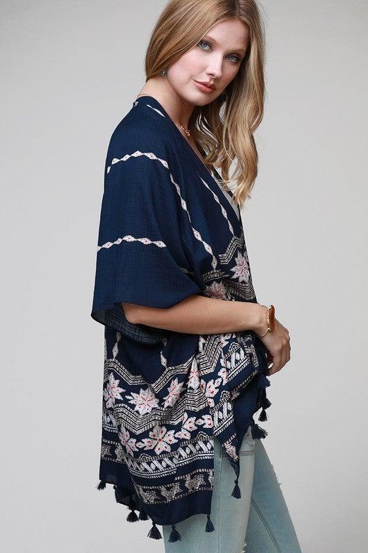 Floral Chevron Print Kimono
