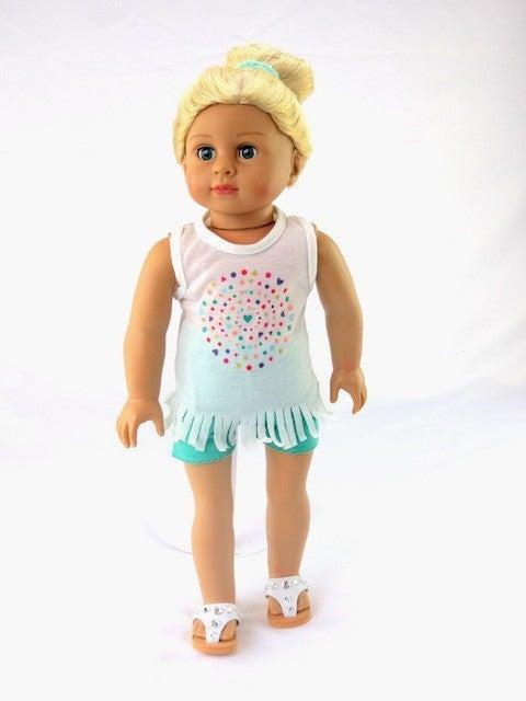 Summer fringe short and shirt set : 18-inch doll clothing