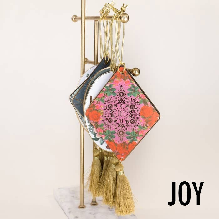 Gold foil holiday ornament with tassel : Papaya