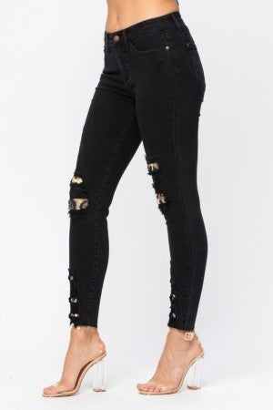 Judy Blue Black Leopard Distressed Denim