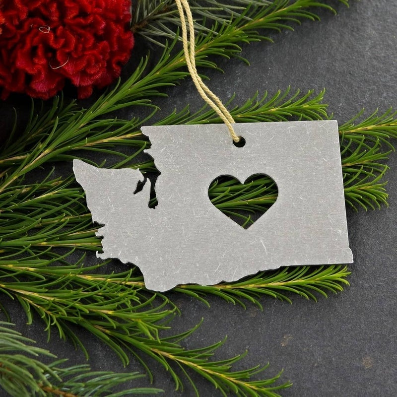 State Metal Heart Holiday Ornaments