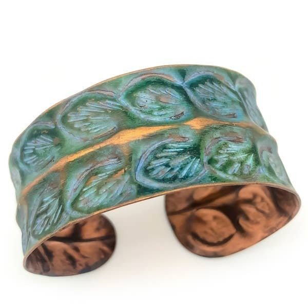 Rows of Leaves Copper Patina Bracelet : Anju