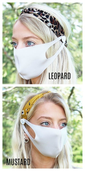 Headband with Button for Face Mask