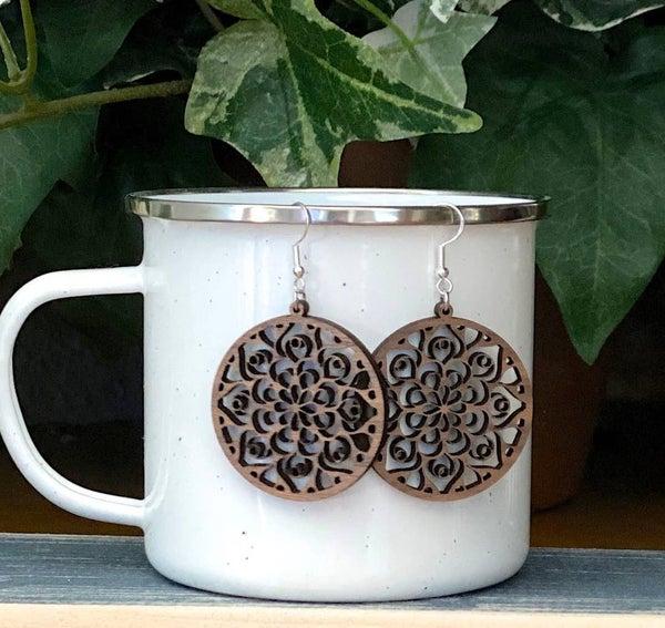 Boho walnut wood mandala circle earrings