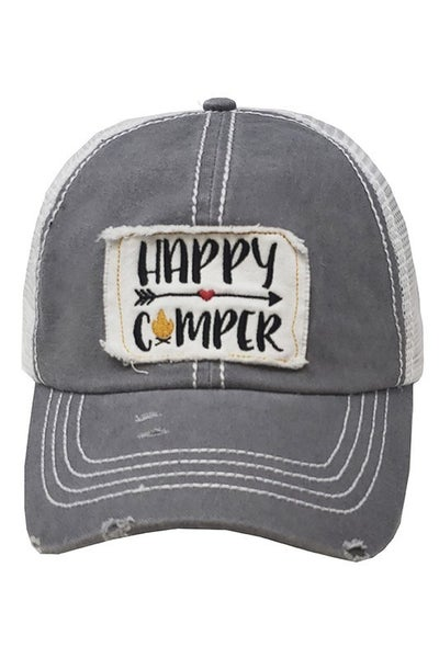 Happy Camper Distressed Trucker Hat
