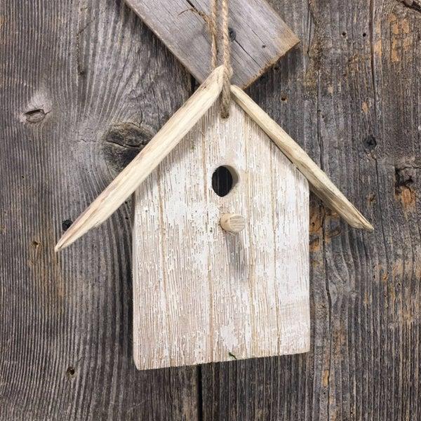 Rustic driftwood hanging birdhouse