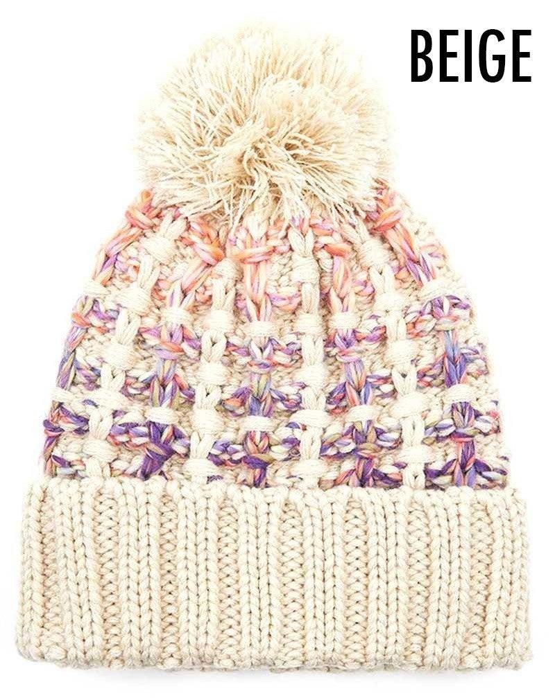 C.C. Ombre pom knit hat