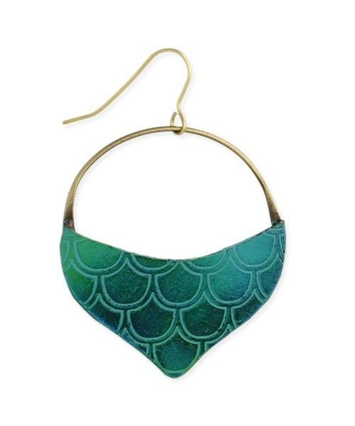 Mermaid-inspired patina tear-drop earrings