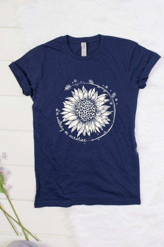 'I'm walking on sunshine' sunflower graphic tee