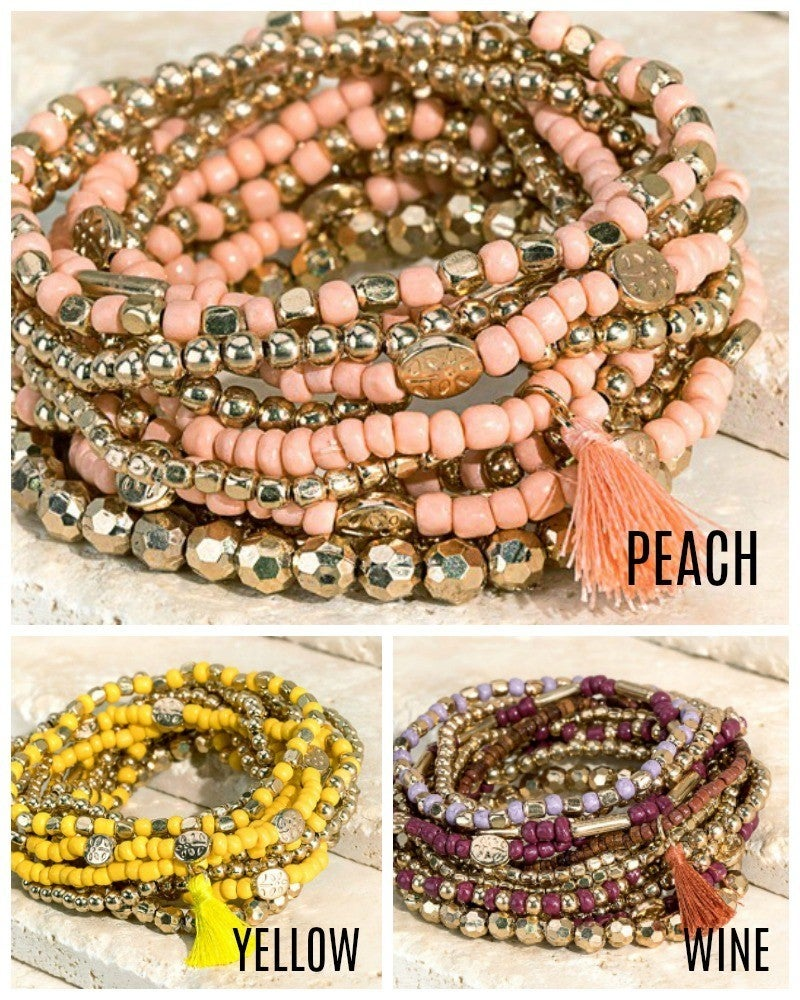 Multi-layered 12 strand stretch bracelet set