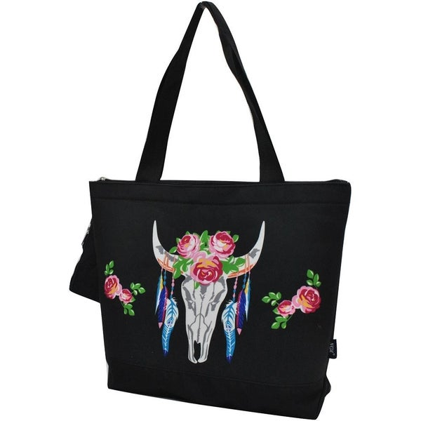 Floral longhorn tote bag