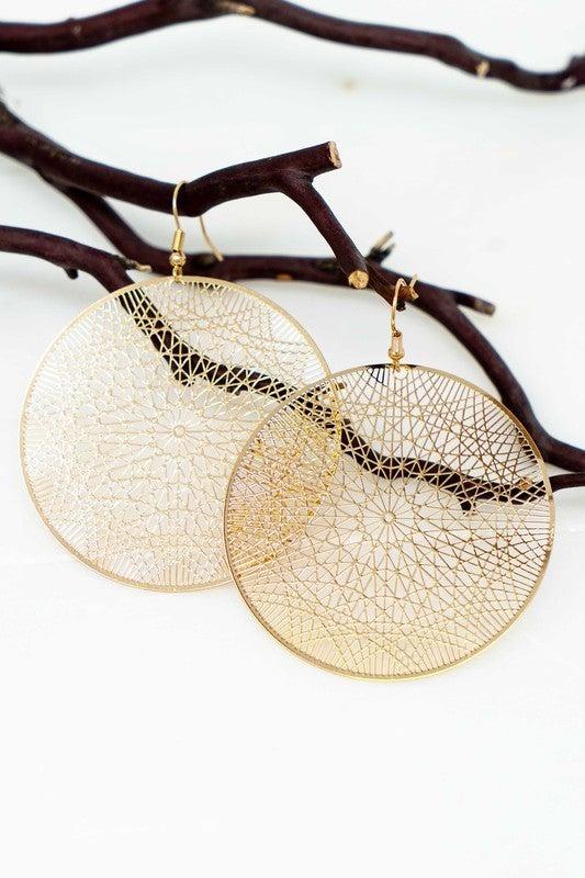 Dreamcatcher filigree disk earrings