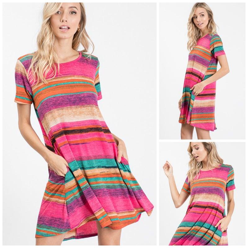 Sarape style swing dress with pockets