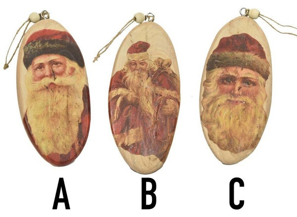Antique style wooden Santa ornament (3 varieties)