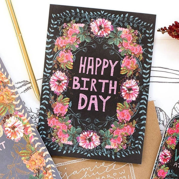 """Wild at Heart"" Birthday Card : Papaya"