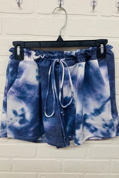 Tie-dye drawstring shorts