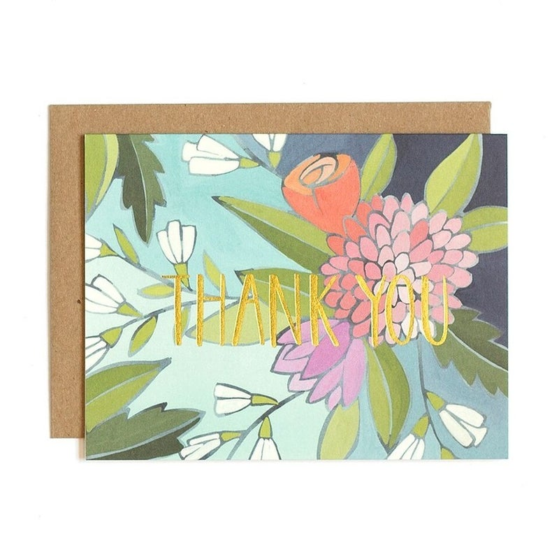 """""""Thank You"""" Foil Floral Greeting Card"""