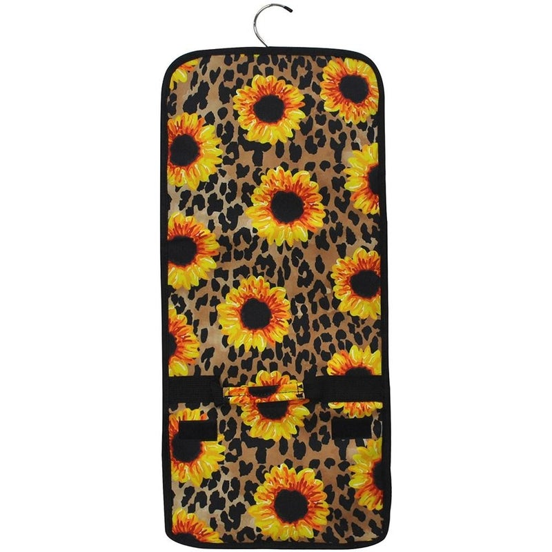 Leopard Sunflower Roll-up Travel Cosmetic Bag