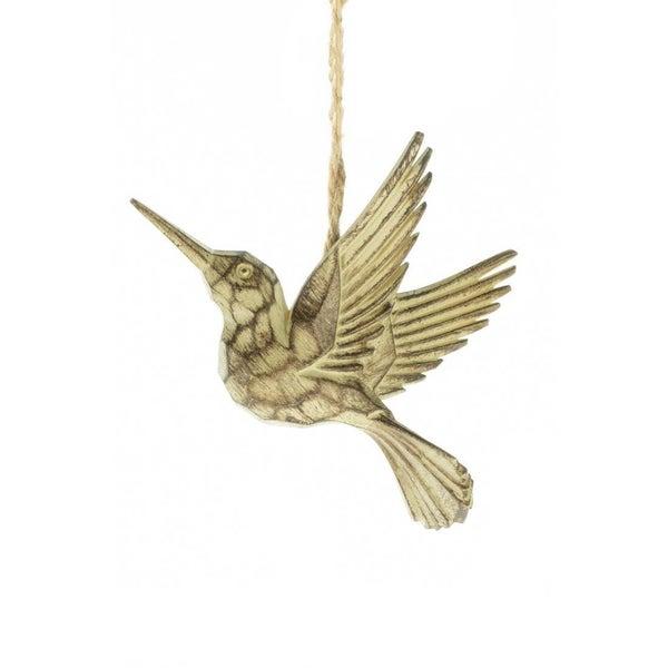 "Carved hummingbird ornament 4.5"""