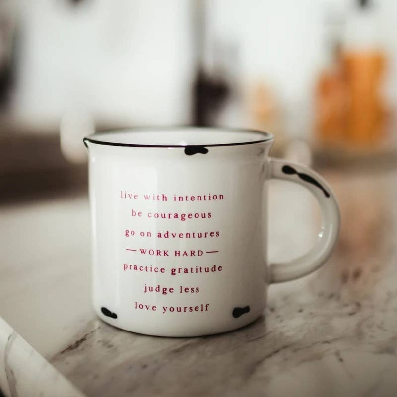 Life mantra ceramic distressed mug 15 oz