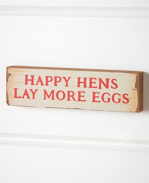 """Happy Hens"" Wood Sign"