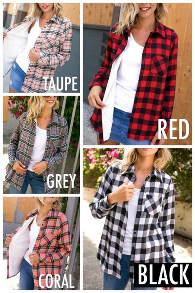 Plaid fleece lined flannel shirt *Final Sale*