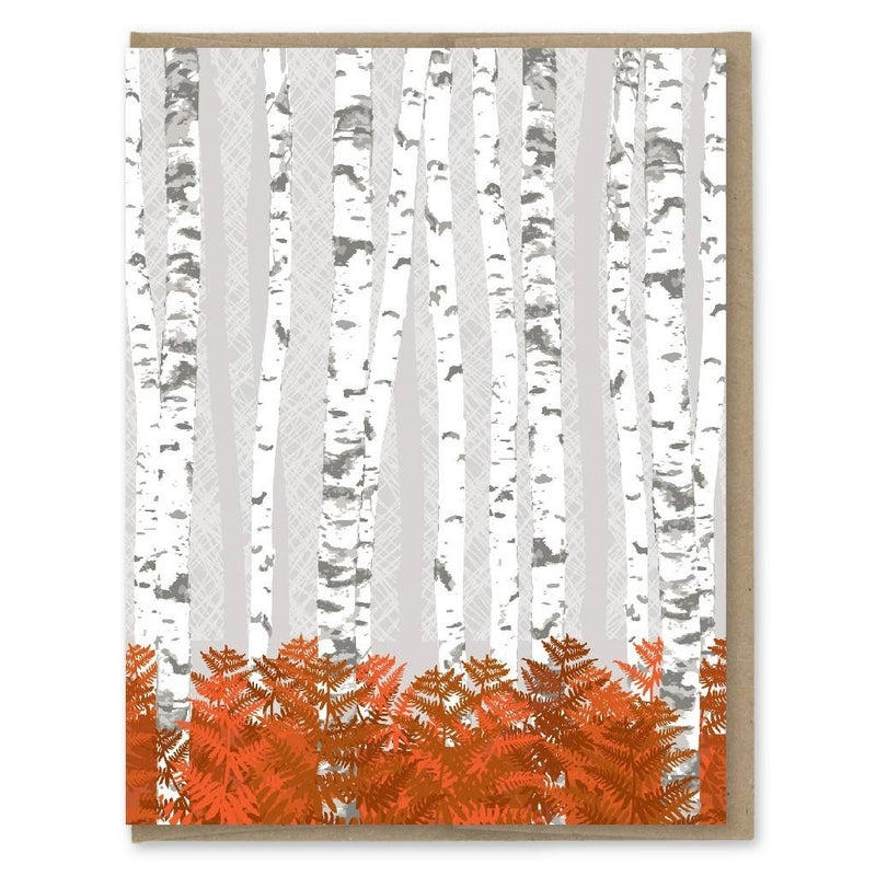 Birch forest blank note card