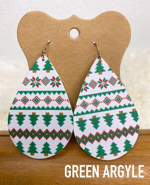 Holiday tear drop faux leather earrings