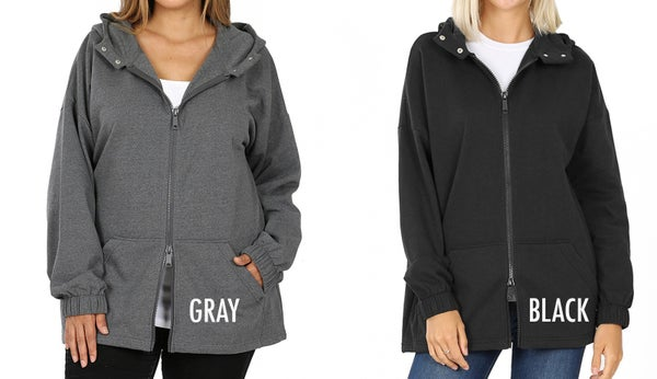 Hoodie Jacket (hoodie, kangaroo pockets, 2-way zippers)
