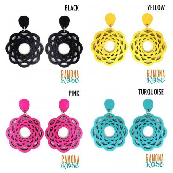 Wood Flower Earrings *Final Sale*